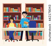 man and woman in a library ... | Shutterstock .eps vector #662178043