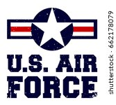 T-shirt print design. U.S. Air Force vintage t shirt stamp. Printing and badge applique label t-shirts, jeans, casual wear. Vector illustration.