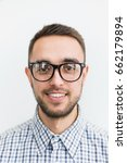 happy man with glasses on a... | Shutterstock . vector #662179894