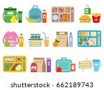 big set of school lunch boxes... | Shutterstock .eps vector #662189743