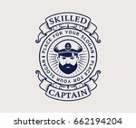 nautical logo with captain icon.... | Shutterstock .eps vector #662194204
