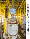 manual pressure gauge at top of ... | Shutterstock . vector #662203390