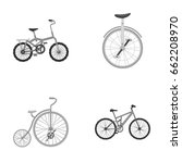 retro  unicycle and other kinds.... | Shutterstock .eps vector #662208970