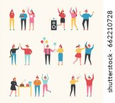 birthday party people vector... | Shutterstock .eps vector #662210728