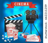cinema related icons over blue... | Shutterstock .eps vector #662211259