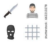 knife  prisoner  mask on face ... | Shutterstock .eps vector #662213278