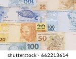 brazilian money background.... | Shutterstock . vector #662213614