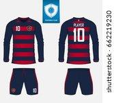 set of long sleeve soccer... | Shutterstock .eps vector #662219230