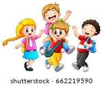 vector illustration of happy... | Shutterstock .eps vector #662219590