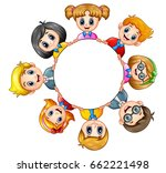 cartoon kids around the frame | Shutterstock . vector #662221498