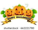 halloween pumpkin ribbon icon | Shutterstock .eps vector #662221780