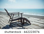 photo of wooden chair on a... | Shutterstock . vector #662223076