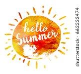 watercolor summer hand... | Shutterstock .eps vector #662233474