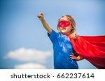 funny little girl playing power ... | Shutterstock . vector #662237614