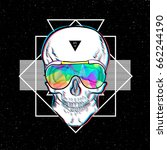 skull in sunglasses iridescent... | Shutterstock .eps vector #662244190
