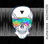 skull in sunglasses iridescent... | Shutterstock .eps vector #662244250