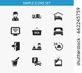 set of 12 editable motel icons. ...