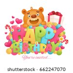 happy birthday greeting card... | Shutterstock .eps vector #662247070