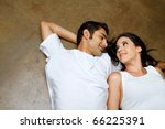 Happy ethnic couple dating - stock photo