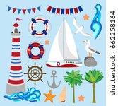 set of nautical images  fifteen ... | Shutterstock .eps vector #662258164
