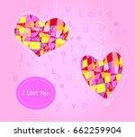 love heart wedding card and...   Shutterstock .eps vector #662259904