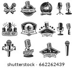 set of karaoke party labels.... | Shutterstock .eps vector #662262439