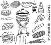 set of hand drawn grill and bbq ... | Shutterstock .eps vector #662262469