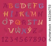 festive alphabet. colorful... | Shutterstock . vector #662266753