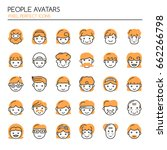 people avatars   thin line and... | Shutterstock .eps vector #662266798