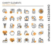 charity elements   thin line... | Shutterstock .eps vector #662266840