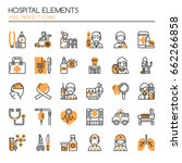 hospital elements   thin line... | Shutterstock .eps vector #662266858