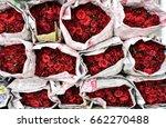 stacks of red roses bundles...   Shutterstock . vector #662270488