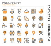 sweet and candy   thin line and ... | Shutterstock .eps vector #662271928