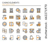 casino elements   thin line and ... | Shutterstock .eps vector #662271970
