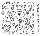back to school doodle icon | Shutterstock .eps vector #662279674