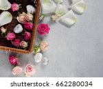 flowers buds and rose petals on ... | Shutterstock . vector #662280034
