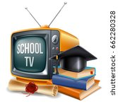 education channel. book stack ... | Shutterstock .eps vector #662280328