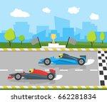 cartoon car racing sport ... | Shutterstock .eps vector #662281834