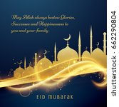 beautiful eid festival greeting ... | Shutterstock .eps vector #662290804
