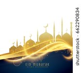 awesome eid festival greeting... | Shutterstock .eps vector #662290834
