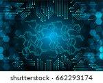 future technology  blue cyber... | Shutterstock .eps vector #662293174