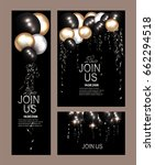 set of invitation cards with ... | Shutterstock .eps vector #662294518