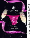 ladies night poster with... | Shutterstock .eps vector #662294614