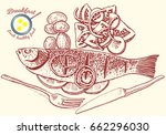 hand drawn breakfast... | Shutterstock .eps vector #662296030