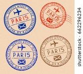 collection of paris postal... | Shutterstock . vector #662296234