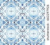 ikat seamless pattern. tribal... | Shutterstock . vector #662297926