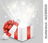 opened gift box with red bow... | Shutterstock .eps vector #662300020