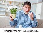 man suffering from allergy  ...   Shutterstock . vector #662306383