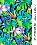 seamless tropical pattern with... | Shutterstock . vector #662311570