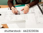close up of architect hands... | Shutterstock . vector #662323036